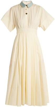 Roksanda Pinara pleated cotton-poplin dress