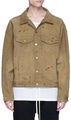 Fear Of God Paint splattered raw denim jacket