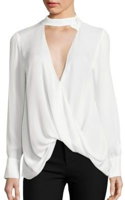Derek Lam 10 Crosby Choker Draped Silk Blouse $395 thestylecure.com