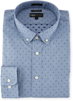 Neiman Marcus Extra X-Trim Fit Regular-Finish Dress Shirt, Gray