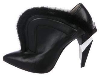 Fendi Fur-Trimmed Ankle Boots
