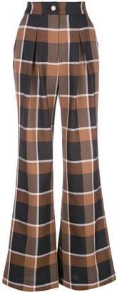 STAUD plaid flared trousers