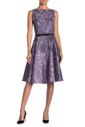 Gabby Skye Shantung Belted Printed Dress