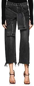 Alexander Wang Denim x Women's Stack Tie Crop Wide-Leg Jeans-Gray