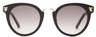 Cartier Eyewear - Panthere De Round Acetate Sunglasses - Womens - Black Grey