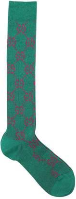 Gucci Gg Knee High Cotton & Lurex Socks