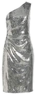 Monique Lhuillier Metallic One-Shoulder Sheath Cocktail Dress