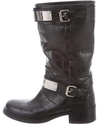 Giambattista Valli Embossed Leather Mid-Calf Boots