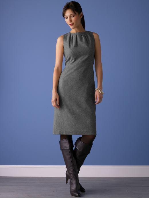 Flannel sheath dress - Gray heather