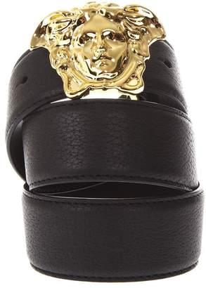 Versace Palazzo Black Calf Leather Belt