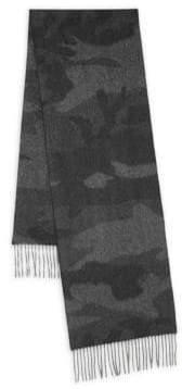 Saks Fifth Avenue BLACK Camouflage Cashmere Scarf