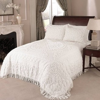 Unbranded MEDALLION CHENILLE BEDSPREAD QUEEN WHITE