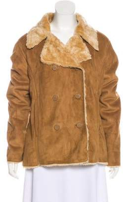 Columbia Double-Breasted Faux Shearling Jacket