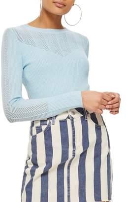 Topshop Yoke Pointelle Detail Sweater