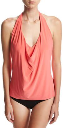 Magicsuit Sophie Solid Cowl-Neck Tankini Swim Top, Pink $110 thestylecure.com