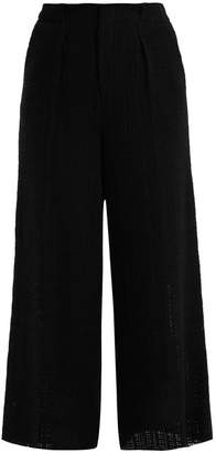 Roland Mouret Broadgate Wide Leg Open Weave Cotton Trousers - Womens - Black