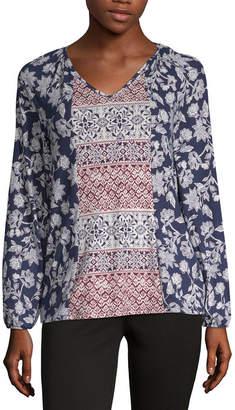 COMO BLU Como Blu Twin Print Womens V Neck Long Sleeve Peasant Top