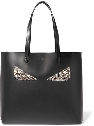 Fendi - Elaphe-trimmed Leather Tote - Black $1,600 thestylecure.com