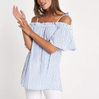 Womens Blue stripe bow strap cold shoulder top River Island Outlet Websites 2GQrTraE