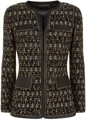 St. John Tweed Leather Trim Jacket