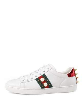 Gucci New Ace Studded Web Low-Top Sneaker, White $650 thestylecure.com