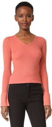 DKNY Bell Sleeve Tight V Neck Sweater $149 thestylecure.com