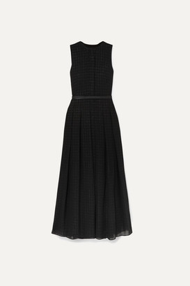 Akris Belted Metallic Checked Wool-blend Mousseline Gown - Black