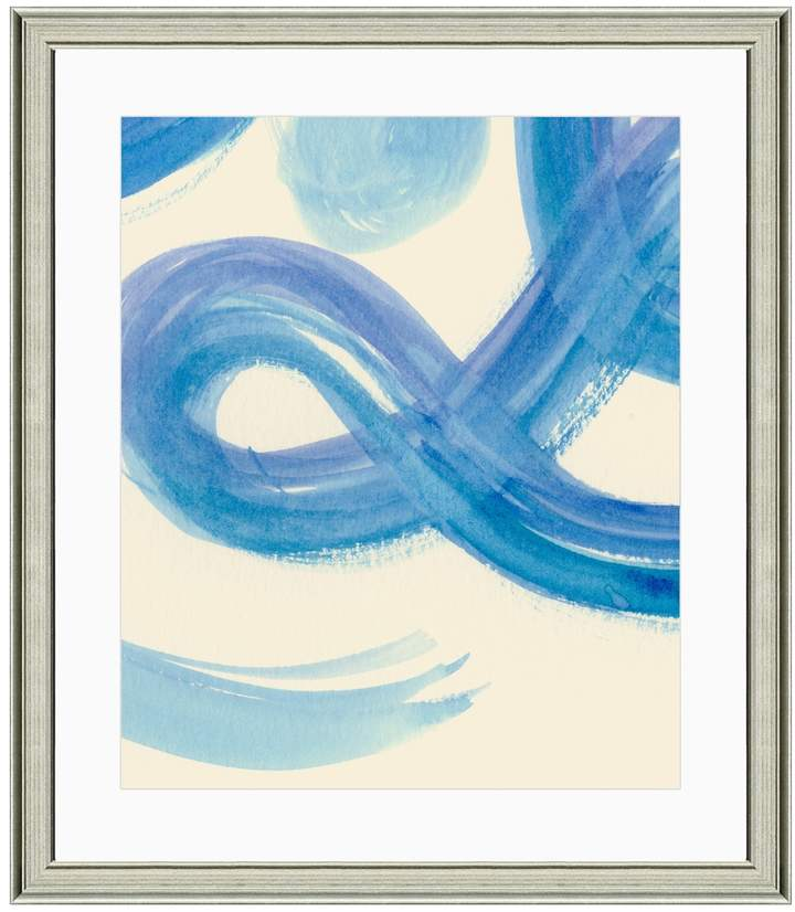 Art Source Blue Swirls Abstract II (Framed Giclee)
