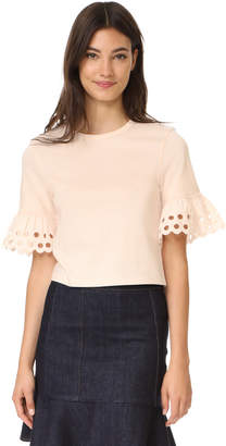 See by Chloe Eyelet Sleeve Tee $210 thestylecure.com
