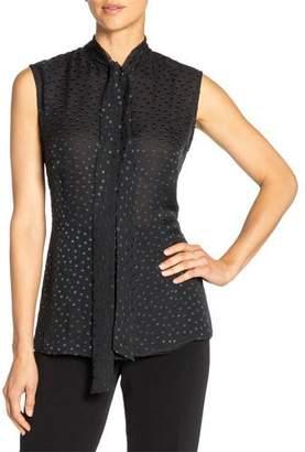 Santorelli Teca Swiss Dot Sleeveless Silk Chiffon Top w/ Neck-Tie