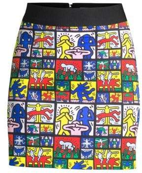 Alice + Olivia Keith Haring X Riley Graphic Comic Tube Skirt