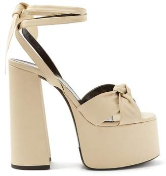 b5ce498273689 Saint Laurent Paige Wraparound Leather Platform Sandals - Womens - Cream