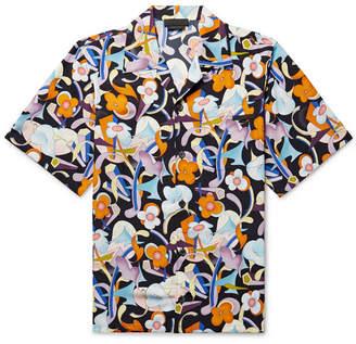 Prada Camp-Collar Printed Matte-Satin Shirt