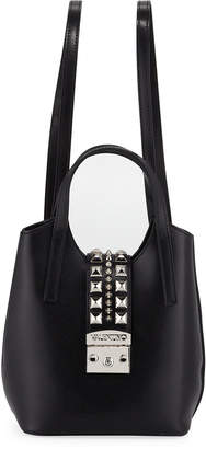 Mario Valentino Valentino By Momo Madras Studded Leather Backpack\/Tote Bag