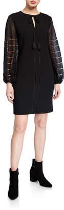 Trina Turk Crepe Sheath Dress with Chiffon Sleeves & Ladder Stitches