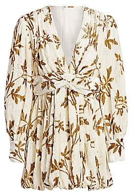 Dodo Bar Or Women's Anatalya Metallic Floral Silk Velvet V-Neck Dress