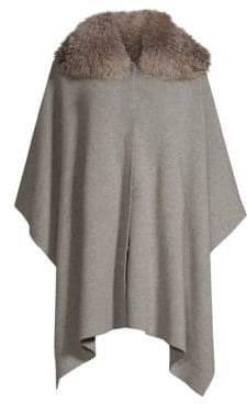 Sofia Cashmere Fox Fur Collar Cashmere Snap-Front Cape