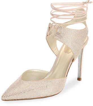 Rene Caovilla Crystal Beaded Satin Ankle-Tie Pump, Beige