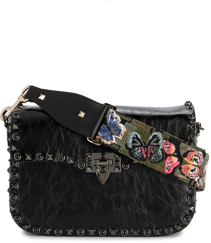 Valentino Rockstud camouflage butterfly bag strap