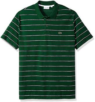 Lacoste Men's Short Sleeve Striped Printed Mini Pique Regular Fit Polo
