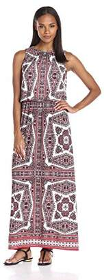 London Times Women's Sleeveless Round Neck Jersey Maxi Dress