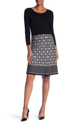 Sandra Darren 3\u002F4 Sleeve Knit Dress