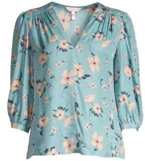 Rebecca Taylor Women's Daniella Ruched Floral Top - Lagoon Combo - Size 00