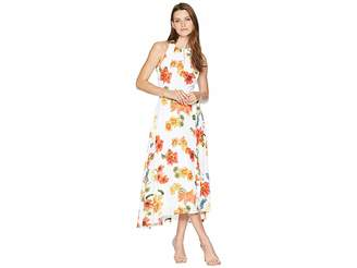 Tahari ASL Sleeveless Printed Chiffon Halter Dress Women's Dress