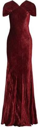 Rosetta Getty Ruched Devoré-Velvet Gown