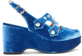 Toga Velvet embellished wedge sandals