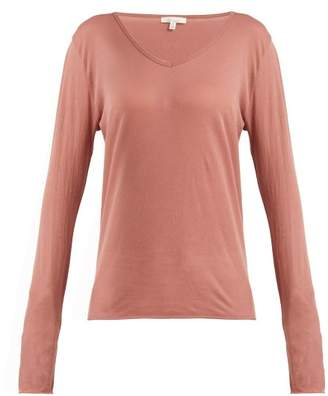 Skin - Long Sleeved Pima Cotton Pyjama Top - Womens - Dark Pink