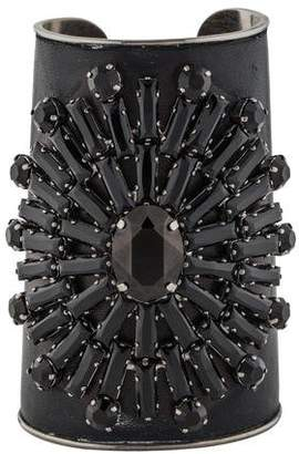 Andrew Gn Crystal & Leather Cuff