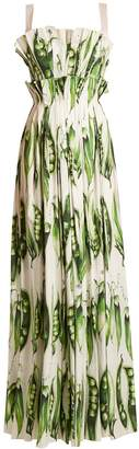 Dolce & Gabbana Broad bean-print pleated cotton-blend gown