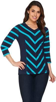 Denim & Co. Striped 3/4 Sleeve V-neck Top with Hi-low Hem